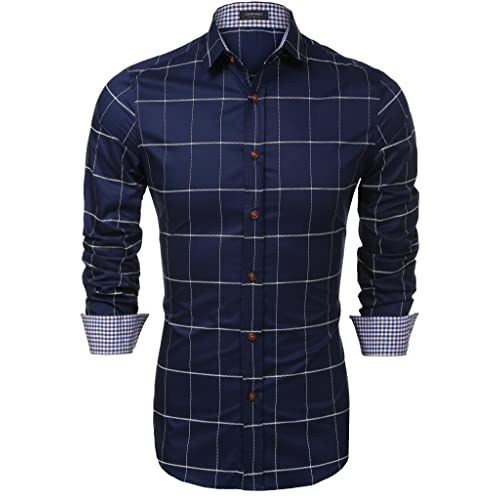 c3fa2bf6b COOFANDY Men s Fashion Long Sleeve Plaid Button Down Casual Shirts Blue