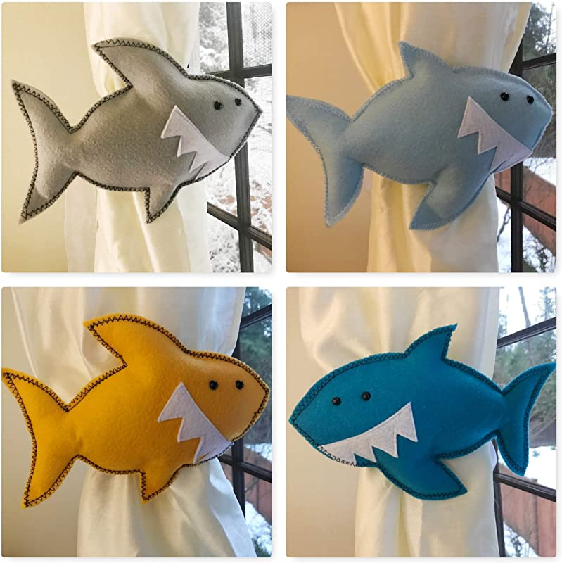 Handmade Shark Curtain Tieback Sea Creatures Home Decoration Fish Theme Nursery Room Decor Pick Colors Kid Gift Present