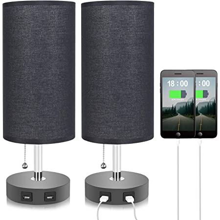 Black Dual USB Table Lamp with 2 USB Charging Ports, Seealle Bedside USB Desk Lamp with Black Fabric Lampshade, Convenient Pull Chain Bedroom lamp for Reading, Living Room,Bedside Lamps Set of 2