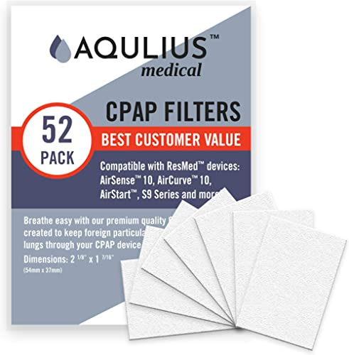 Disposable CPAP Filters (52 Pack - ONE Year Supply) - Fits All ResMed Air 10, Airsense 10, Aircurve 10, S9 Series, Ai...