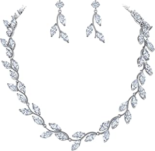 EleQueen Women's Teardrop Jewelry Sets Cubic Zirconia Marquise-cut Bridal V-Necklaces Dangle Earrings