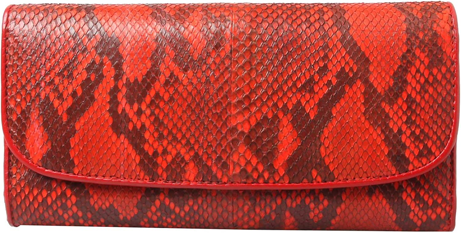 Genuine Python Leather Red Trifold Women Snap Coin Wallet Purse Zip Long Clutch