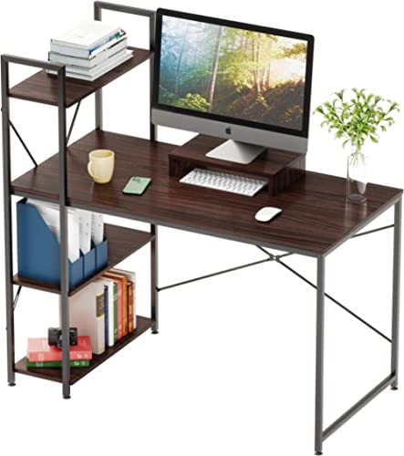 Bestier Computer Desk 47 Inches with Bookshelf and Wooden Monitor Stand Riser Combination Home Office Furniture Set W...