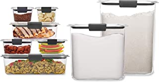 Rubbermaid Brilliance Storage 16-Piece Plastic Lids BPA Free, Leak Proof Food Container   For Fridge and Pantry, Clear