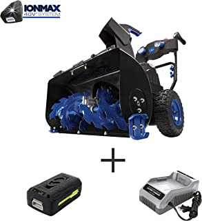 Snow Joe ION8024-XR Cordless Two Stage Snow Blower | 24-Inch | 80 Volt | 2 x 5 Ah Batteries | 4-Speed | Headlights