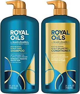 Head & Shoulders Royal Oils Dandruff Shampoo & Conditioner Set with Coconut Oil and Apple Cider Vinegar, Curly Hair Produc...