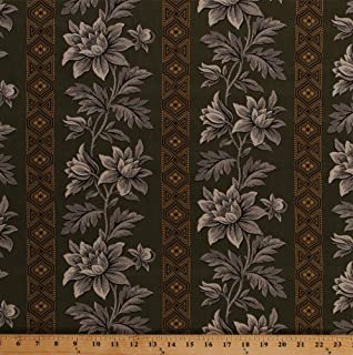 Cotton Jo Morton Charleston Floral Flowers Plants Wide Stripes Green Civil War Reproduction Historical Cotton Fabric Print by The Yard (A-7469-YG)
