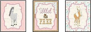 "Horse Wall Art"" Wild and Free"" Pink Burlap Boho Flowers Pony (Set of 3 Prints)"