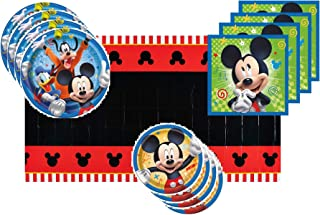 Mickey Mouse Party Supplies Tableware Bundle for 16 Guests - Includes 16 Dinner Plates, 16 Dessert Plates, 16 Dinner Napkins, and 1 Tablecover