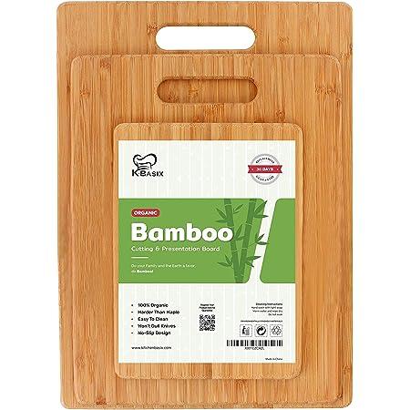 Amazon Com K Basix Bamboo Cutting Board 3 Pcs Set Premium 100 Organic Wood Cutting Board For Chopping Meat Butcher Block Veggies Cheese Natural Cutting Boards For Kitchen Non Slip Design