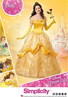 Simplicity 8406, Disney Beauty and the Beast Princess Belle Cosplay and Halloween Costume Sewing Pattern, Sizes 14-22