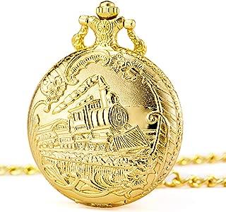 Pocket Watch Steam Train Quartz Fob Watch for Men Women with Chain, Gold