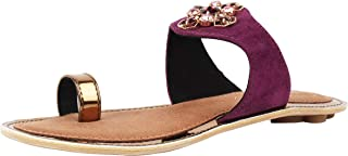 Catwalk Women's Embellished Toe Ring Slip Ons Purple Fashion Slippers
