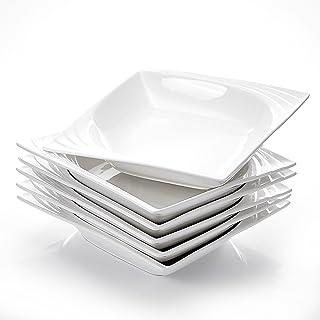 soucoupes Malacasa Service de table en porcelaine Blanc ivoire en c/éramique avec tasses assiettes /à dessert assiettes /à soupe et assiettes 19.8 x 14.9 x 13.3 inches 26-Piece Dinnerware Set