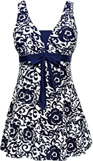 Les umes Womens One Piece Plus Size High Waist Shapping Body Printed Swimdress with Boyshort