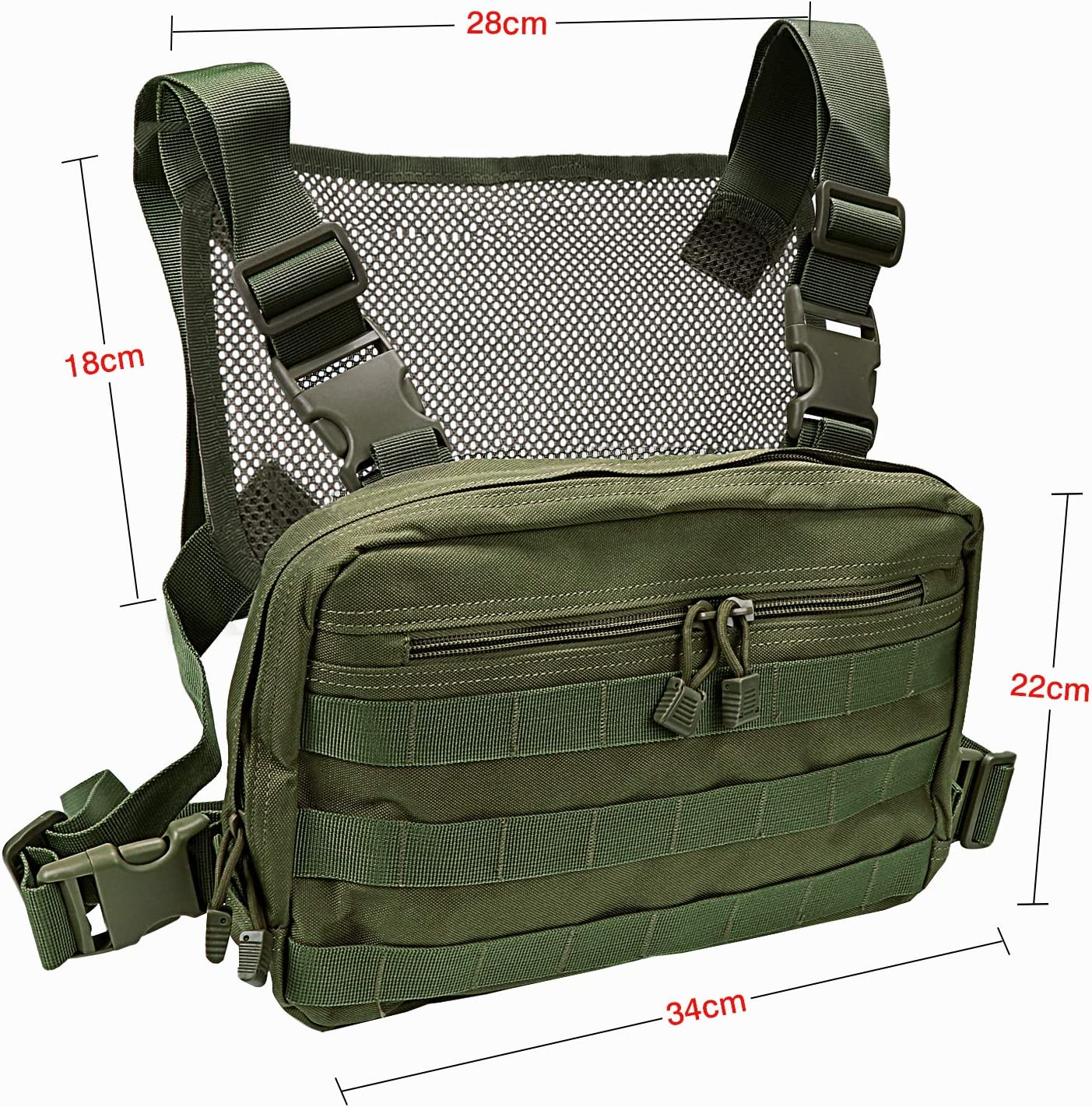 Bronzer Kyrio Tactical Chest Rig Molle Radio Chest Harness Holder Holster Vest pour Two Way Radio Talkie Walkie Noir
