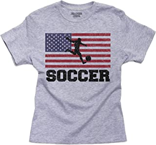 Hollywood Thread USA Olympic - Soccer - Flag - Silhouette Youth Size T-Shirt