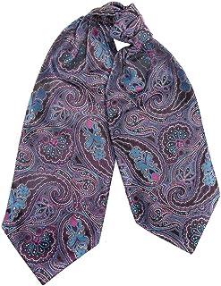 efeel® Cravat Ascot 100% Silk Paisley Polka Dot Floral Stripe Jacquard Men Cravats Scarf Neckerchief Tie Set with Matching...
