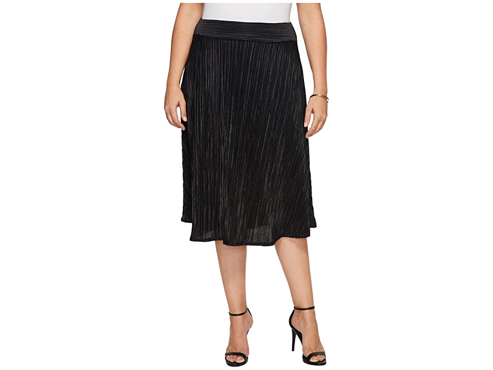 Kiyonna A Crinkle In Time Skirt (Black Noir) Women's Skirt