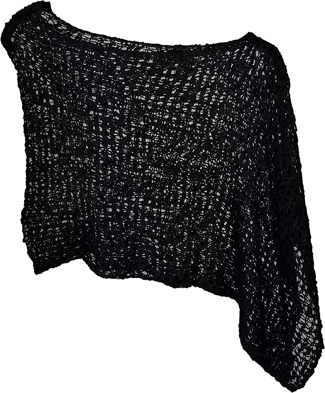 Van Klee Popcorn Knit Acrylic Short Poncho Pullover Cape