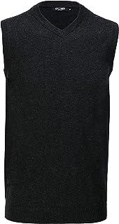 Xposed Mens Sleeveless V Neck Jumper Retro Smart Casual Plain Soft Tank Top Jersey Vest