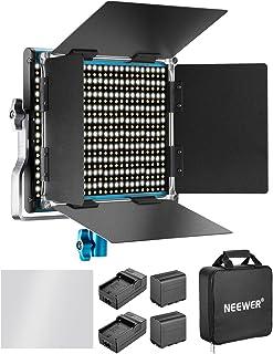 Neewer Dimbar Bi-färg 660 LED-videobelysning med 6 600 mAh batteri och laddare set: 3 200-5600K CRI 96 med U-hållare och b...