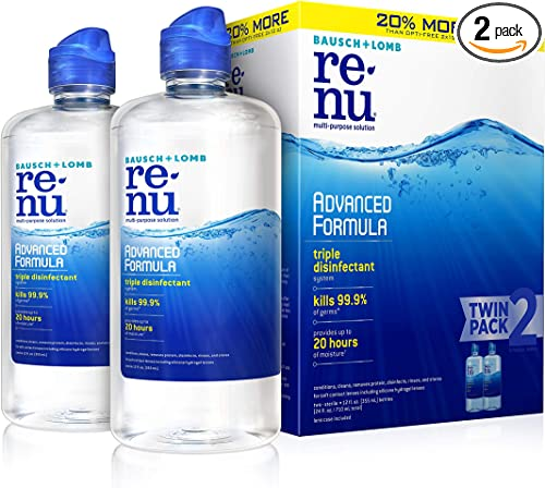 Contact Lens Solution by Renu Multi-Purpose Disinfectant Advanced Formula Kills 99.9% of Germs 12 Fl Oz (Pack of 2)