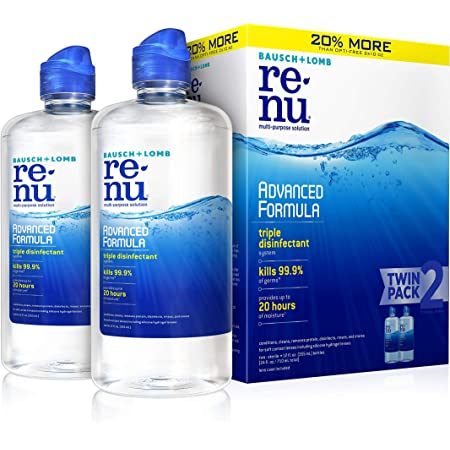 Contact Lens Solution by Renu, Multi-Purpose Disinfectant, Advanced Formula Kills 99.9% of Germs, 12 Fl Oz (Pack of 2)