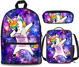PrelerDIY Galaxy Dab Unicorn Backpack Set 3 Piece 17 Inch Plus Book Bag Lunch Box Pencil Case for Boys Girls 1-6th Grade Kids Back to School