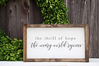 bawansign The Thrill of Hope The Weary World rejoices Christmas Wood Sign Christmas Sign Christmas Decor Holiday Decor Holiday Sign Canvas Sign