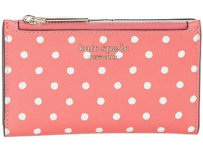 Kate Spade New York Spencer Dots Small Slim Bifold Wallet (Peach Melba Multi) Wallet Handbags