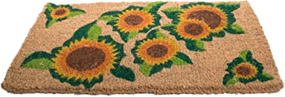 Imports Decor Printed Coir Doormat, Happy Sunflower, 18-Inch by 30-Inch