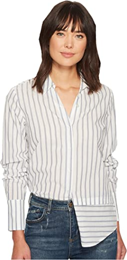 Tennnessee Top in Papyrus/China Blue Banker Stripe