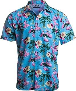 Party Flamingos | Funny Tropical Vacation Humor Hawaiian Button Down Polo Shirt Men