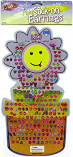 Kole Imports KK700 Large Stick-On Earrings Set, Assorted Bright Styles, Pack of 126 Pairs of Stick-on Earrings
