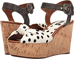 Polka Dot Cady Knot Cork Wedge with Raffia Strap 50mm