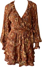 Spell & The Gypsy Women's Aurora Long Sleeve Play Dress Swim Cover Up Burnt Ember XS