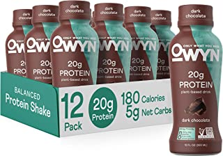 OWYN - 100% Vegan Plant-Based Protein Shakes | Dark Chocolate, 12 Fl Oz (Pack of 12) | Dairy-Free, Gluten-Free, Soy-Free, ...