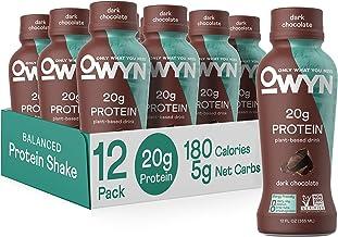 OWYN - 100% Vegan Plant-Based Protein Shakes | Dark Chocolate, 12 Fl Oz (Pack of 12) | Dairy-Free, Gluten-Free, Soy-Free, ...