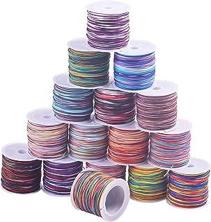 KONMAY Nylon Beading Cord,640 Yards Mixed of 16 Rainbow Colors, 0.8mm Trim Thread for Chinese Knotting, Kumihimo, Beading,...
