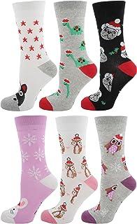 Calcetines navideños de algodón para mujer (6 unidades)