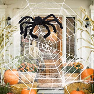 ESSENSON Halloween Decorations - 12 FT Giant Round Spider Web and Fake Large Hairy Spider Props Scary Halloween Yard Door ...