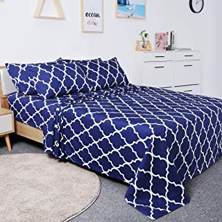 BYSURE 6 Piece Hotel Luxury Bed Sheets Set - Ultra Soft 1800 Thread Count Double Brushed Microfiber, Deep Pockets, Wrinkle & Fade Resistant Cooling Bed Sheets(Queen, Quatrefoil-Sapphire Blue)