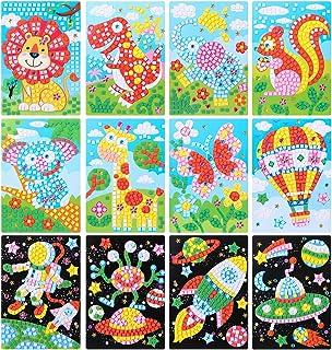 LEMESO Peinture Mosaïque EVA, 12 Pièces Peinture Enfant Autocollant, Loisir Créatif Art Artisanat Bricolage Jouets Éducati...
