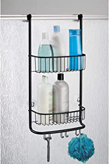 iDesign Forma Bathroom Over the Door Shower Caddy with Storage Baskets Shelves and Hooks for Shampoo, Conditioner, Soap, M...