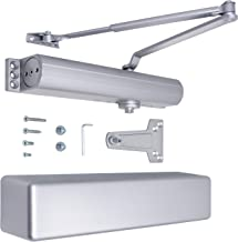 Heavy Duty Commercial Door Closer, Surface Mounted, BHMA Grade 1, Cast Iron, UL Listed, Non-Handed, Automatic Door Closers with Hydraulic Hinge, Regular Arm Parallel Arm Shoe (Aluminum Finish)