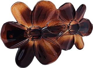 Parcelona France Deux Flowers Celluloid Tortoise Shell 发夹 - 6.99 cm