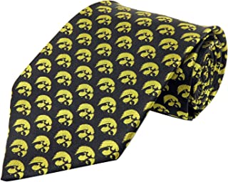 NCAA Men's Iowa Hawkeyes Repeating Hawkeye Necktie, Black/Yellow
