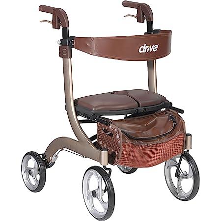 Drive Medical Nitro DLX Euro Style Walker Rollator, Champagne