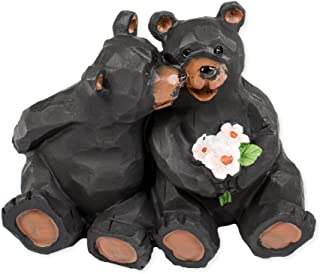 Kissing Bear Couple with Flowers 4 x 3 x 3 Inch Resin Crafted Tabletop Figurine